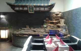 Fontana e pagoda scenografica