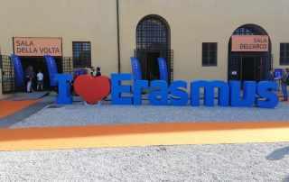 Insegna i love Erasmus lettere 3D polistirolo per fiera di settore