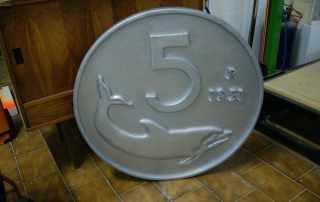 replica gigante moneta da 5 lire